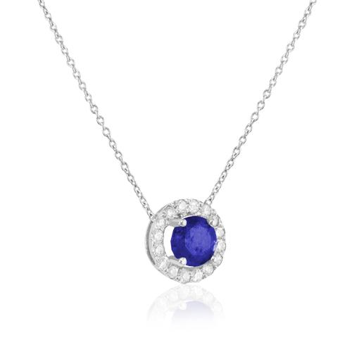 gargantilla de oro blanco con rosetón de diamantes y zafiro azul