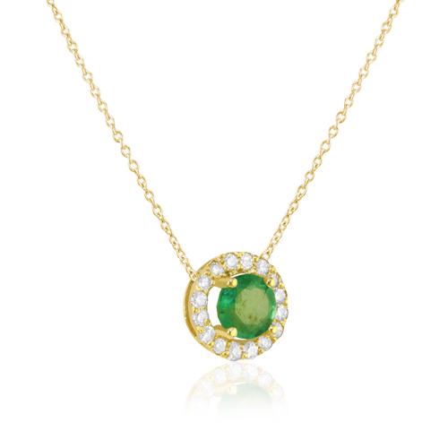 gargantilla de oro amarillo con rosetón de diamantes y esmeralda