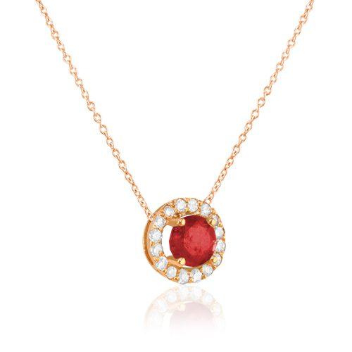 gargantilla de oro rosa con rosetón de diamantes y rubi