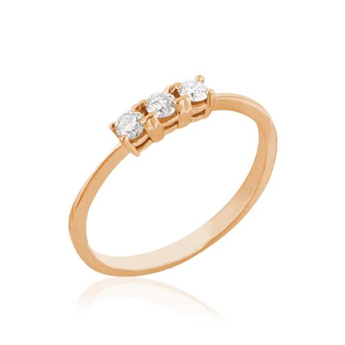 anillo de oro rosa con tres diamantes