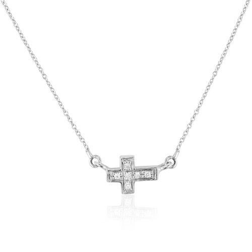 gargantilla de oro blanco con cruz de diamantes
