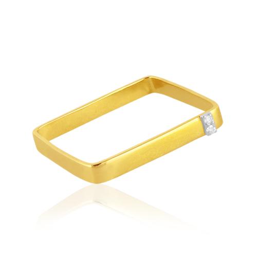 anillo cuadrado de oro y diamantes