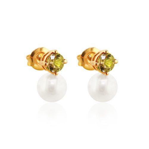 pendientes de oro tu y yo perla y peridoto