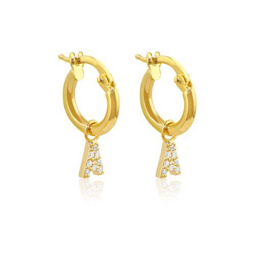 criolla de oro con inicial con diamantes