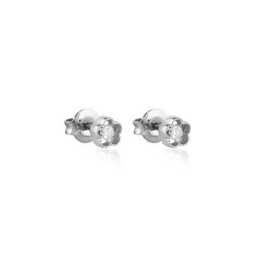 pendientes ear cuff de oro blanco con diamante
