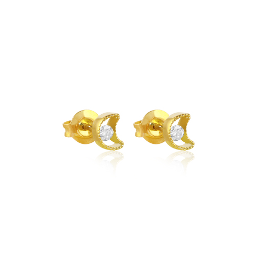 pendientes ear cuff de oro amarillo con diamante