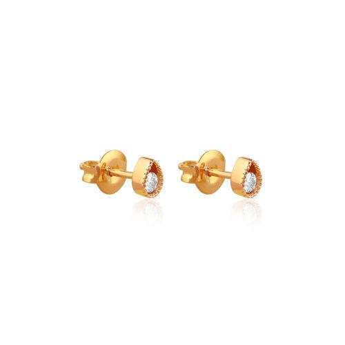pendientes ear cuff de oro rosa con diamante