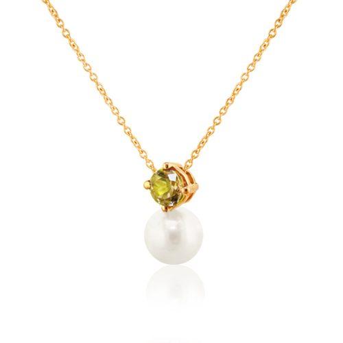 gargantilla de oro con perla y peridoto