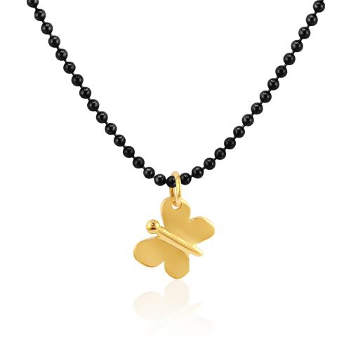 gargantilla con mariposa de oro