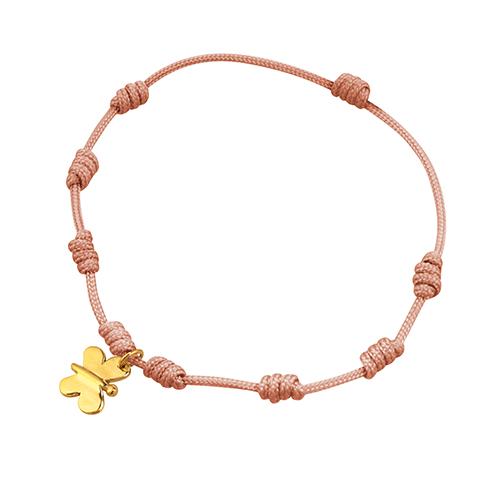 pulsera de macrame con mariposa de oro