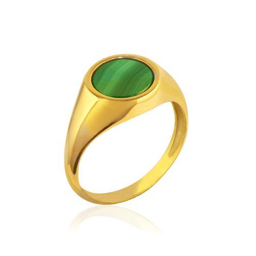 anillo sello de oro amarillo con malaquita