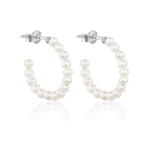 pendientes aro perlas