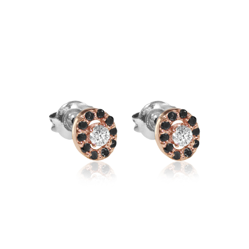pendiente de oro rosa con diamantes