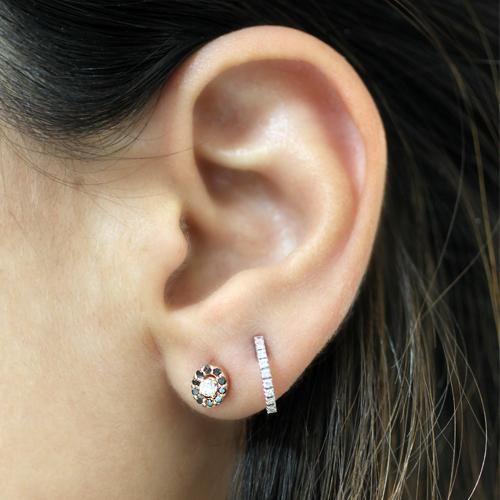 pendientes de oro rosa con diamantes