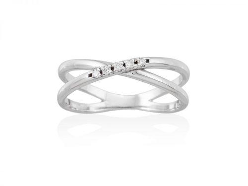 anillo de oro cruzado con diamantes mini