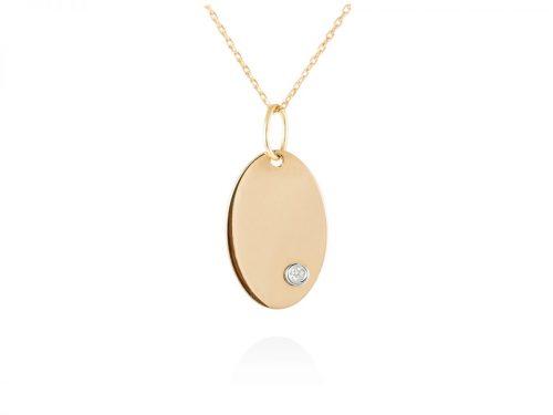 collar con chapa ovalada de oro y diamante