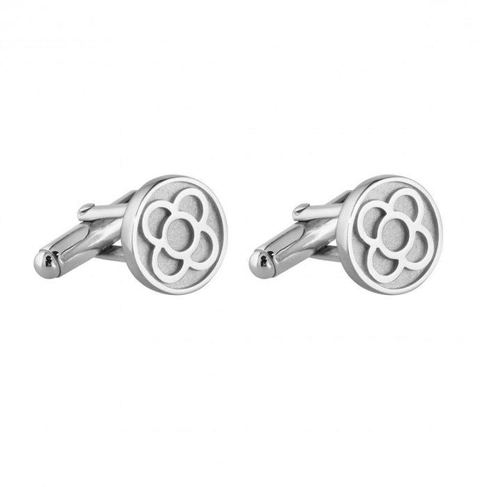 gemelos de plata con flor