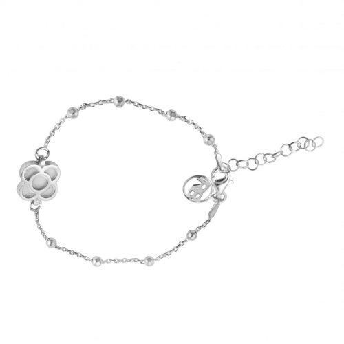 pulsera de plata con flor Barcelona