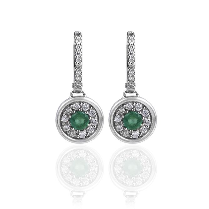 pendientes de oro con esmeraldas y diamantes