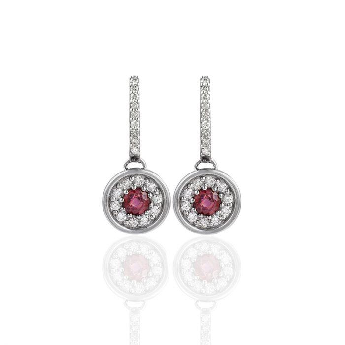 pendientes de oro con rubí y diamantes