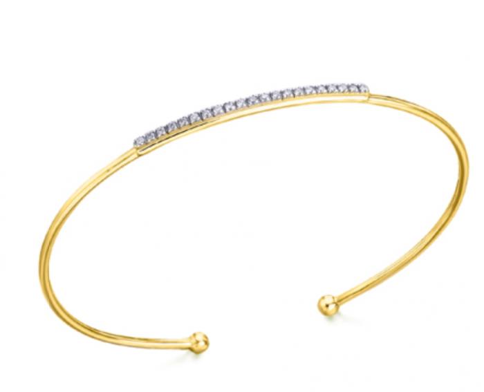 pulsera de oro rigida con diamantes