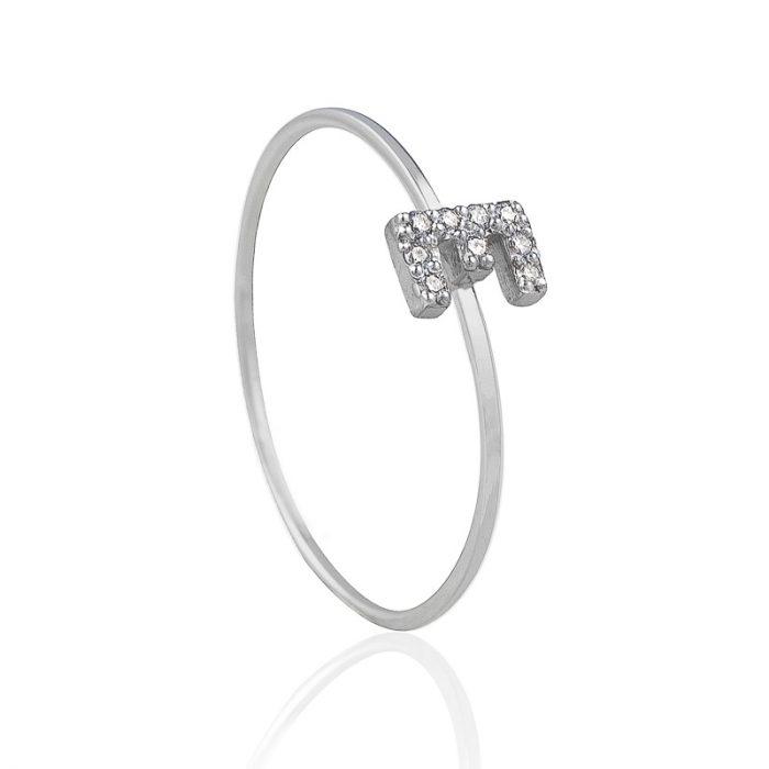 anillo de oro con inicial de diamantes