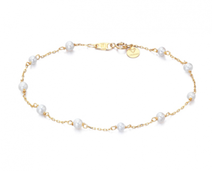 pulsera de oro con perlas