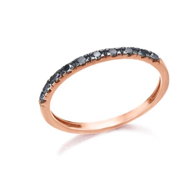 Anillo de oro rosa con diamantes negros