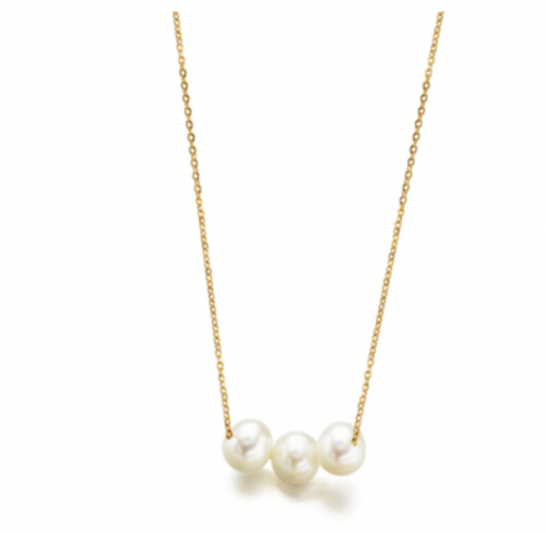 collar de oro con perlas