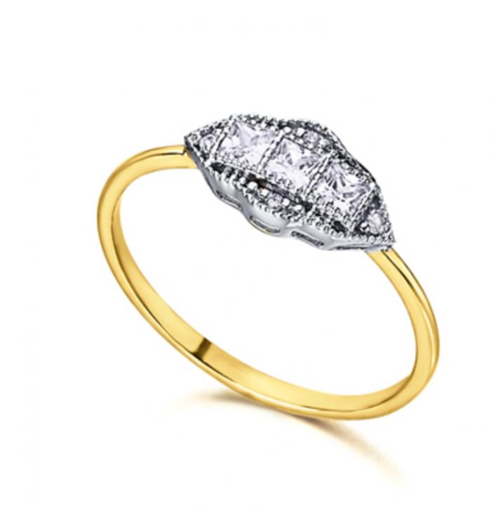 anillo de oro estilo Art Deco