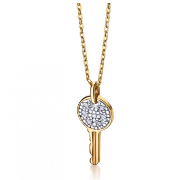 collar de oro con llave
