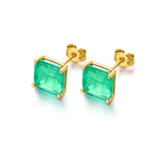 pendientes de oro 18k con piedra cuarzo verde