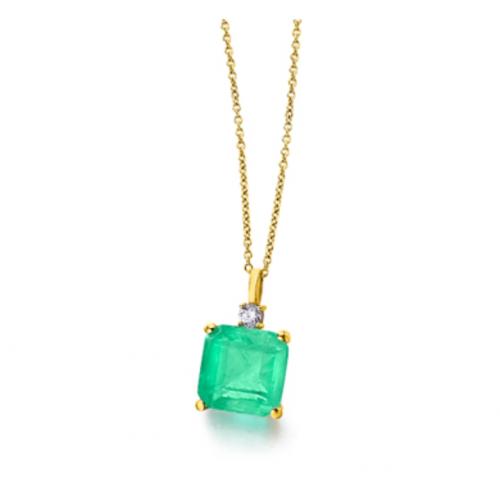 collar de oro 18k con cuarzo verde